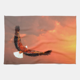 Eagle flying to the sun - 3D render Kitchen Towel