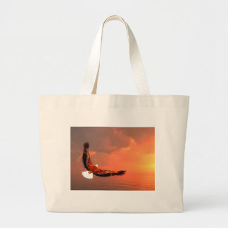 Eagle flying to the sun - 3D render Large Tote Bag