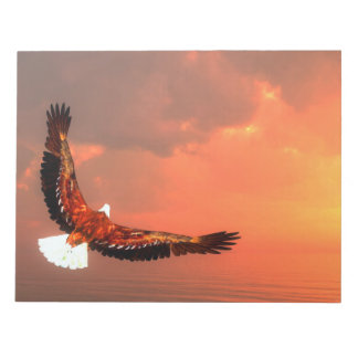 Eagle flying to the sun - 3D render Notepad
