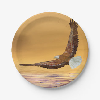Eagle flying to the sun - 3D render Paper Plate