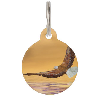 Eagle flying to the sun - 3D render Pet ID Tag