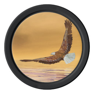 Eagle flying to the sun - 3D render Poker Chips
