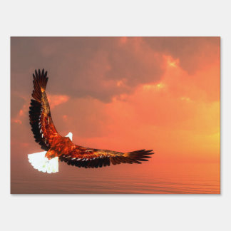 Eagle flying to the sun - 3D render Sign
