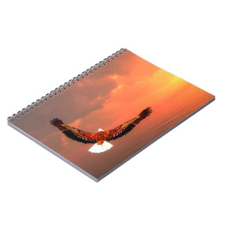 Eagle flying to the sun - 3D render Spiral Note Books