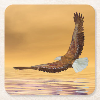 Eagle flying to the sun - 3D render Square Paper Coaster