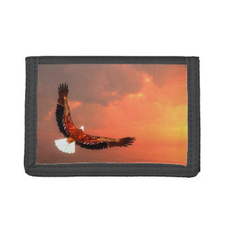 Eagle flying to the sun - 3D render Tri-fold Wallet