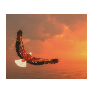Eagle flying to the sun - 3D render Wood Wall Decor
