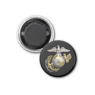 Eagle Globe and Anchor 1 Inch Round Magnet