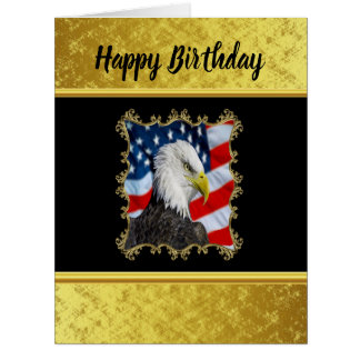Eagle head  and a American flag gold foil design Card