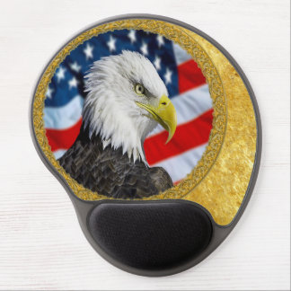Eagle head  and a American flag gold foil design Gel Mouse Pad