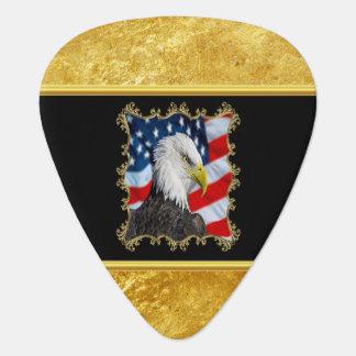 Eagle head  and a American flag gold foil design Guitar Pick