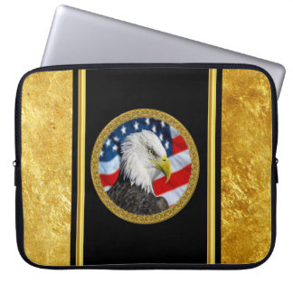 Eagle head  and a American flag gold foil design Laptop Sleeve