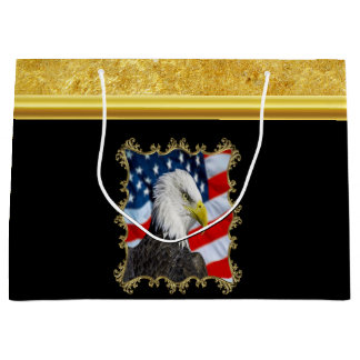 Eagle head  and a American flag gold foil design Large Gift Bag