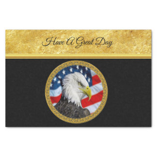 Eagle head  and a American flag gold foil design Tissue Paper