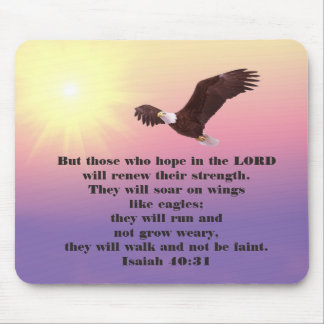 Eagle in Pink Yellow Purple Sky Bible Verse Mouse Pad