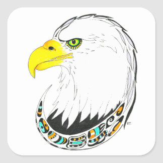 Eagle Ink Drawing Square Sticker