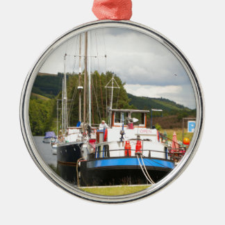 Eagle Inn pub barge, Scotland 2 Metal Ornament
