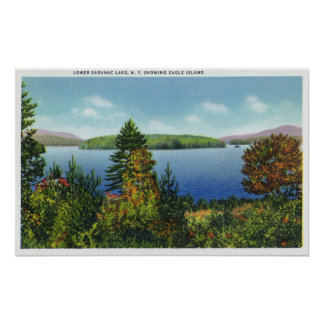 Eagle Island and Lower Saranac Lake View Poster