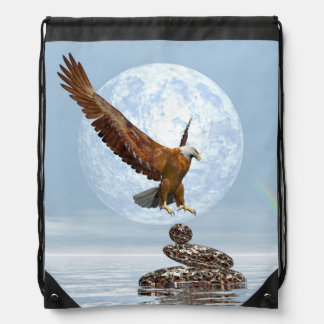 Eagle landing on balanced stones - 3D render Drawstring Bag