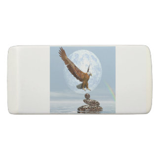 Eagle landing on balanced stones - 3D render Eraser