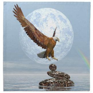 Eagle landing on balanced stones - 3D render Napkin