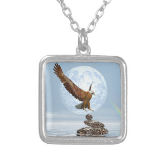 Eagle landing on balanced stones - 3D render Silver Plated Necklace