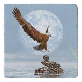 Eagle landing on balanced stones - 3D render Trivet