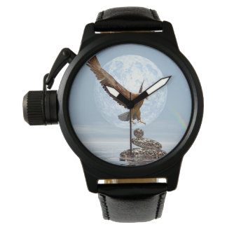 Eagle landing on balanced stones - 3D render Watch