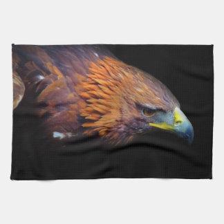 Eagle on Black Background Kitchen Towel