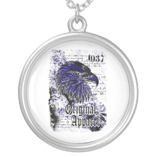 eagle original apparel affected design silver plated necklace