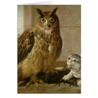 Eagle Owl and Cat with Dead Rats Card