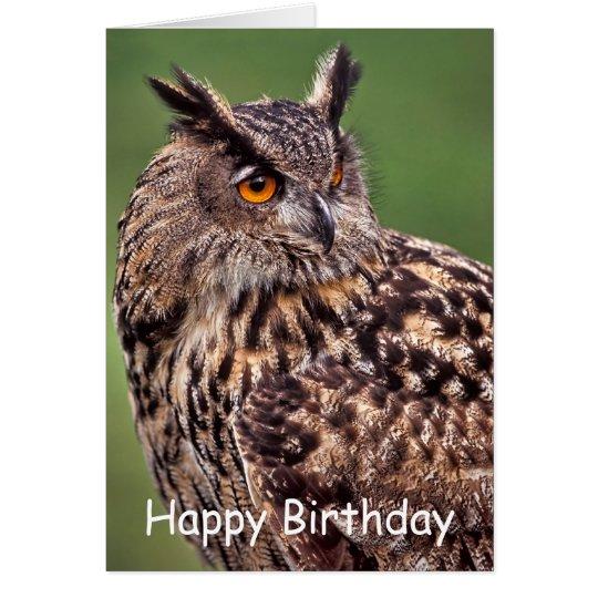 Eagle Owl Birthday Card
