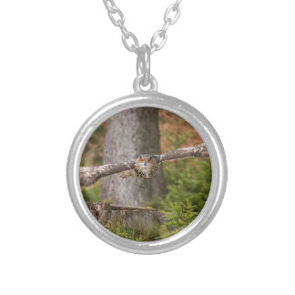 Eagle Owl in Flight Silver Plated Necklace