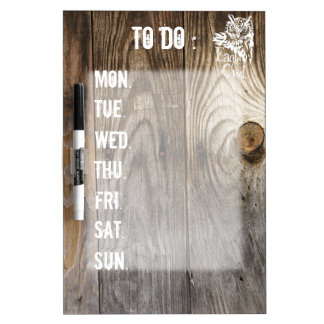 Eagle Owl old wood weekly schedule stencil Dry Erase Board