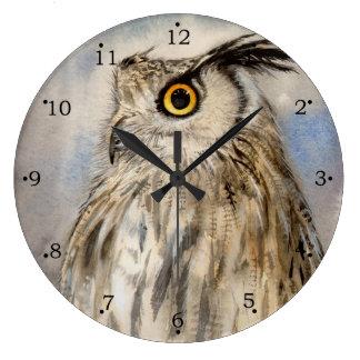 Eagle Owl Wildlife Art Wallclock