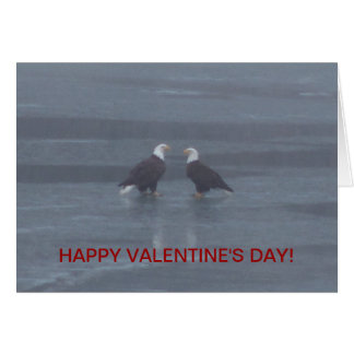 Eagle Pair On Icy Lake, Valentine's Card