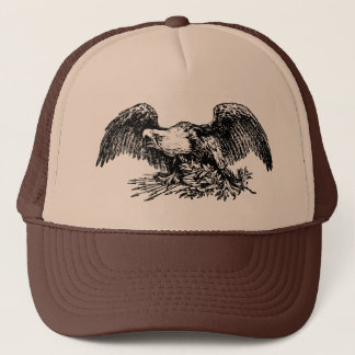 Eagle Patriotic Illustration Trucker Hat