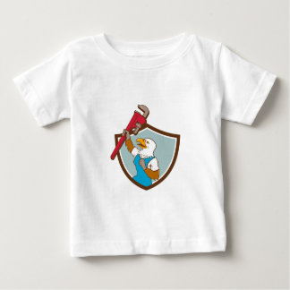 Eagle Plumber Raising Up Pipe Wrench Crest Cartoon Baby T-Shirt