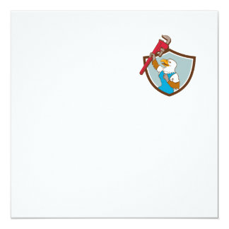 Eagle Plumber Raising Up Pipe Wrench Crest Cartoon Card