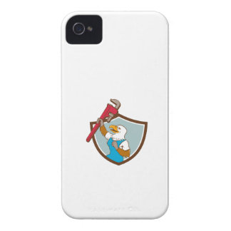 Eagle Plumber Raising Up Pipe Wrench Crest Cartoon Case-Mate iPhone 4 Cases