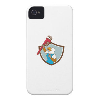 Eagle Plumber Raising Up Pipe Wrench Crest Cartoon iPhone 4 Case-Mate Cases