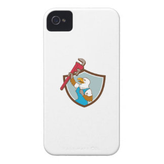 Eagle Plumber Raising Up Pipe Wrench Crest Cartoon iPhone 4 Cases