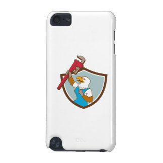 Eagle Plumber Raising Up Pipe Wrench Crest Cartoon iPod Touch 5G Cover