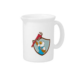 Eagle Plumber Raising Up Pipe Wrench Crest Cartoon Pitcher