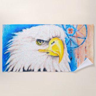 Eagle Pointilism Art Beach Towel