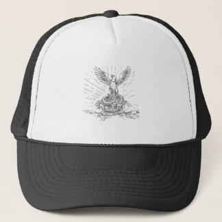 Eagle Rising Like Phoenix and Dragon Tattoo Trucker Hat