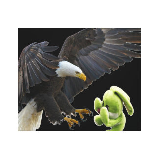 Eagle scares to a teddy canvas print