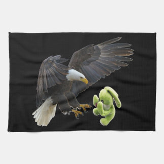 Eagle scares to a teddy towel