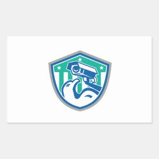 Eagle Security CCTV Camera Retro Shield Rectangular Sticker