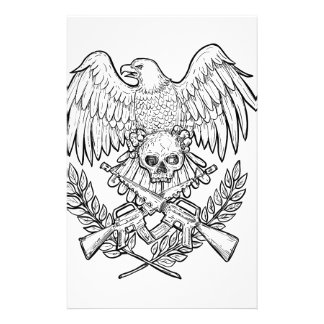 Eagle Skull Assault Rifle Drawing Stationery